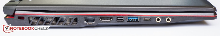 Links: Kensington Lock, Gigabit Ethernet, USB3.1 Gen1, HDMI, MiniDisplayPort, Kopfhörer