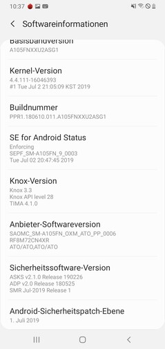 Samsung Galaxy A10 Software