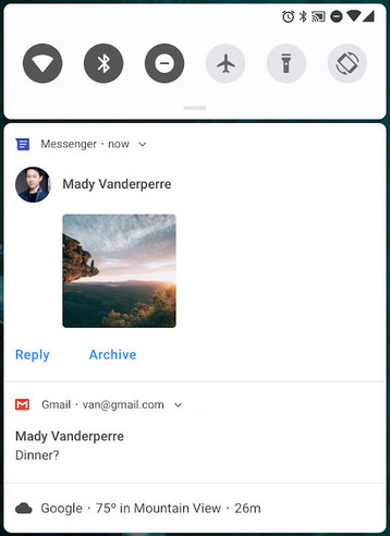 Das Messaging-Interface wird in Android P aufgewertet.
