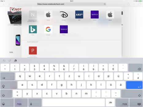 Tastatur-Layout des Apple iPad Pro 12.9: Querformat