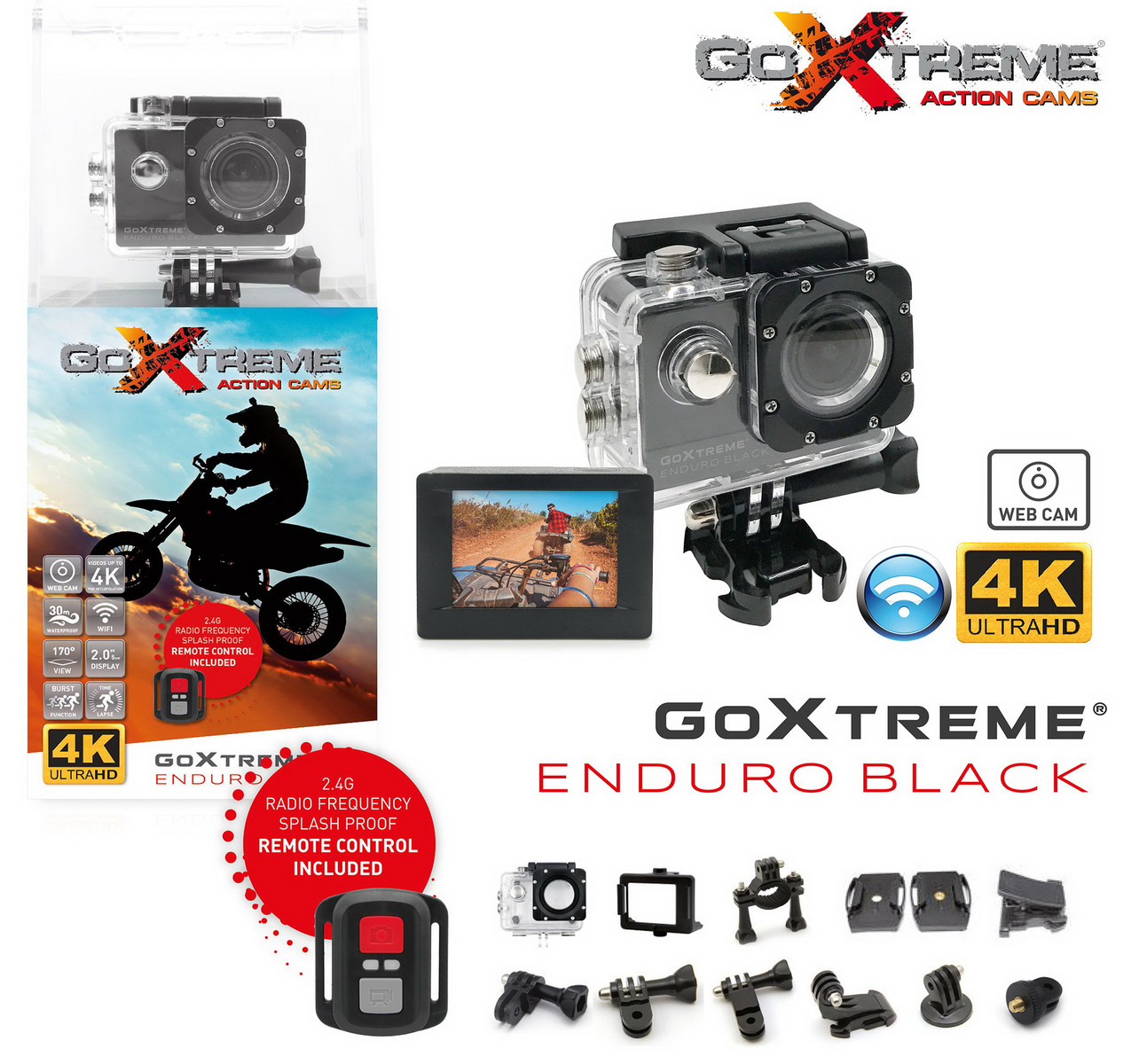 goxtreme enduro black 8 mp actioncam mit 170 grad optik. Black Bedroom Furniture Sets. Home Design Ideas