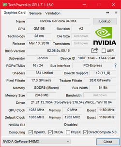 GPU-Z: Nvidia GeForce 940MX