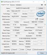 Systeminfo: GPU-Z Intel HD Graphics 620