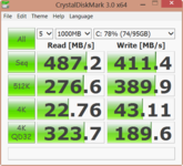 Crystal Disk Mark: 487 MB/s (Seq. R.)