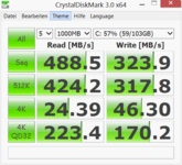 Crystal Disk Mark: 488 MB/s (Seq. R.)