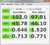 Crystal DiskMark 3.0: 102 MB/s Sequential Read