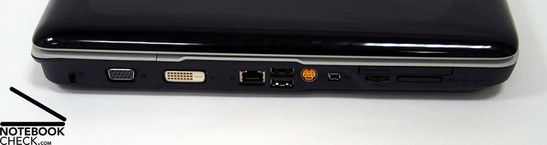 Anschlüsse links: Kensington Lock, VGA, DVI-D, LAN, 2x USB, S-Video, Firewire, Cardreader, ExpressCard