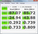Crystal DiskMark 3.0: 87 MB/s Sequential Read