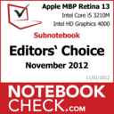 Award Apple MBP 13 Retina