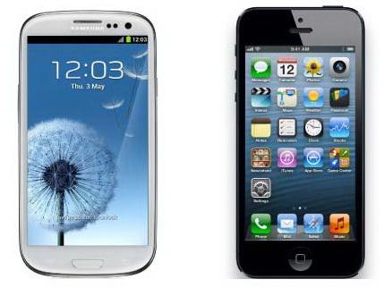 Smartphones displays von galaxy s3 und iphone 5 im vergleich