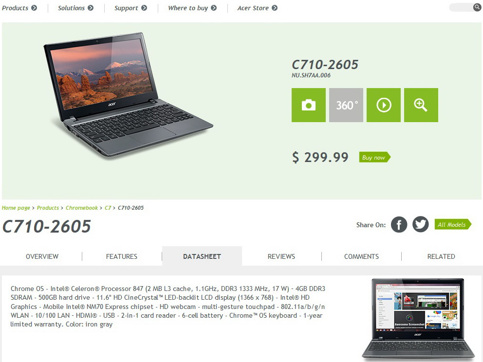 Acer neues chromebook c710 2605 mit l ngerer akkulaufzeit for Apple 300 dollar book