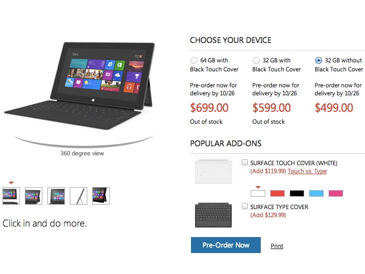 microsoft tablet surface rt kostet ab 480 euro. Black Bedroom Furniture Sets. Home Design Ideas
