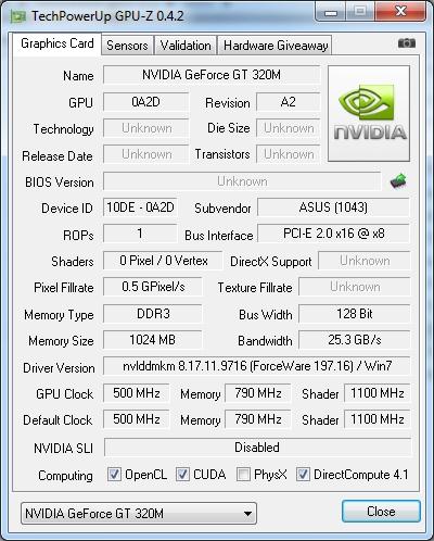 NVIDIA GeForce GT 320M